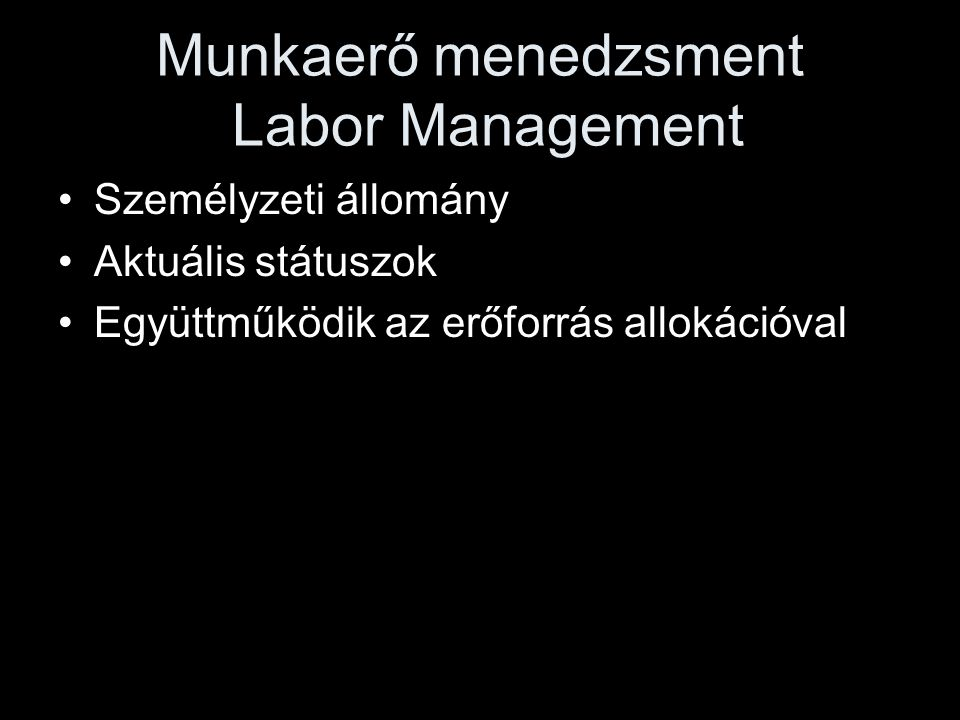 Munkaerő menedzsment Labor Management