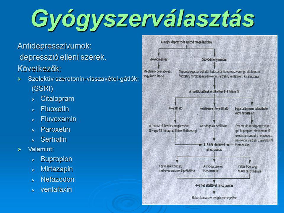 Gyógyszerválasztás Antidepresszívumok: depresszió elleni szerek.