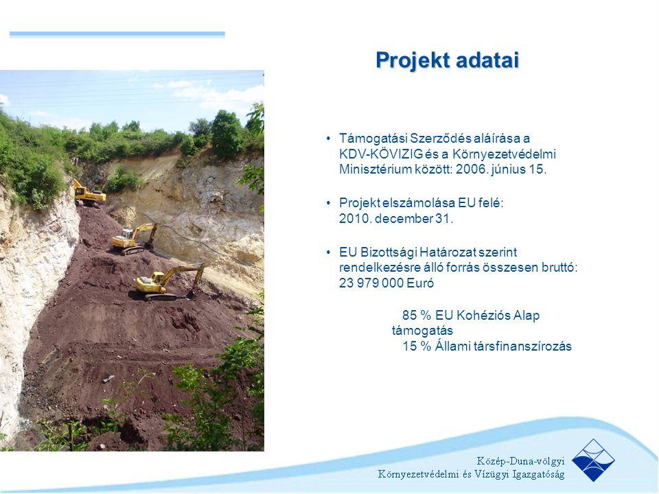 Projekt adatai Támogatási Szerződés aláírása a KDV-KÖVIZIG és a Környezetvédelmi Minisztérium között: 2006. június 15.