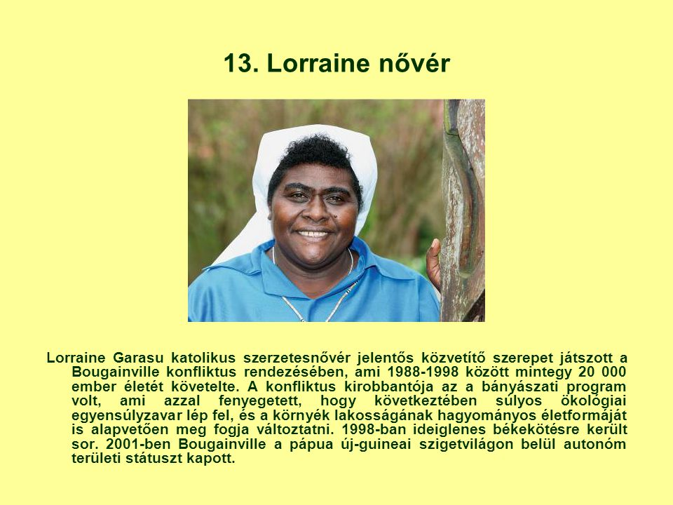 13. Lorraine nővér