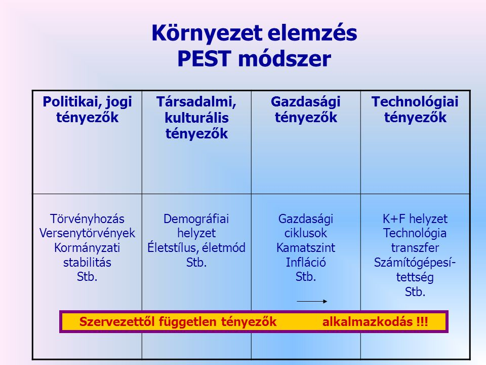Környezet elemzés PEST módszer
