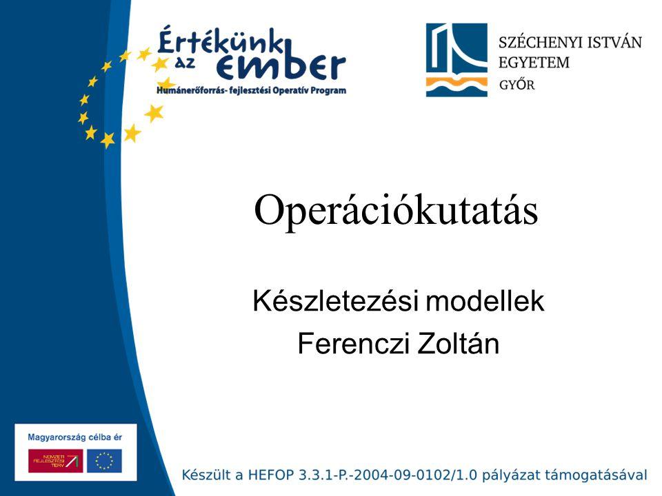 Készletezési modellek Ferenczi Zoltán