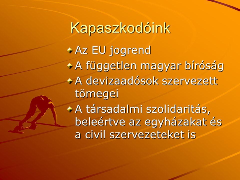 Kapaszkodóink Az EU jogrend A független magyar bíróság
