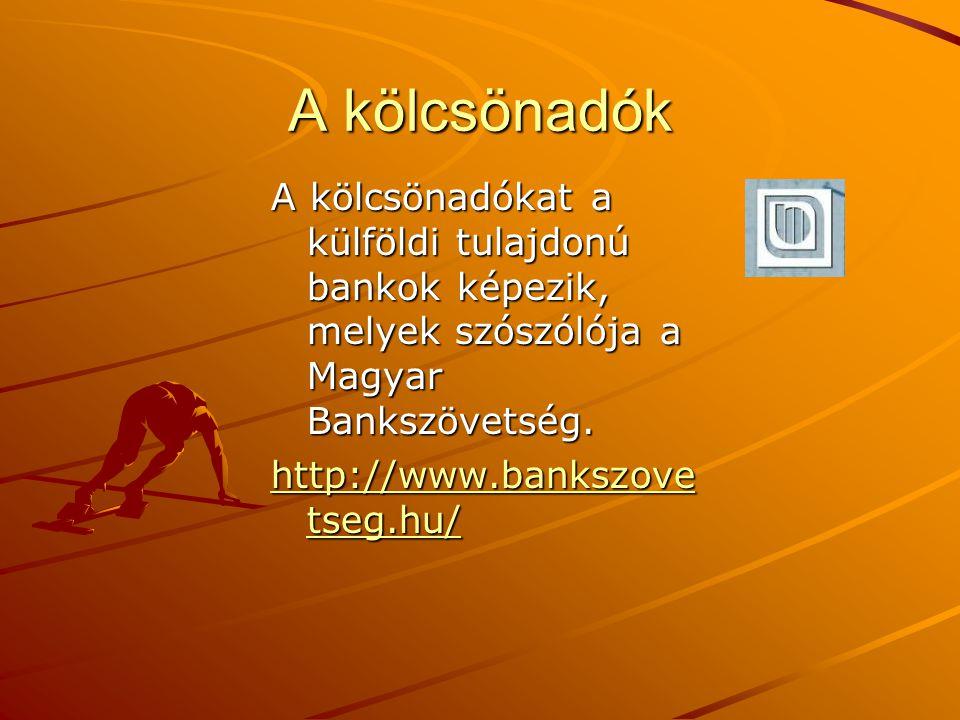A kölcsönadók A kölcsönadókat a külföldi tulajdonú bankok képezik, melyek szószólója a Magyar Bankszövetség.