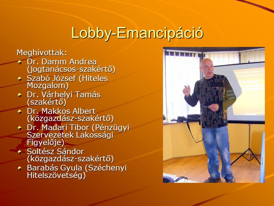 Lobby-Emancipáció Meghívottak: Dr. Damm Andrea (jogtanácsos-szakértő)