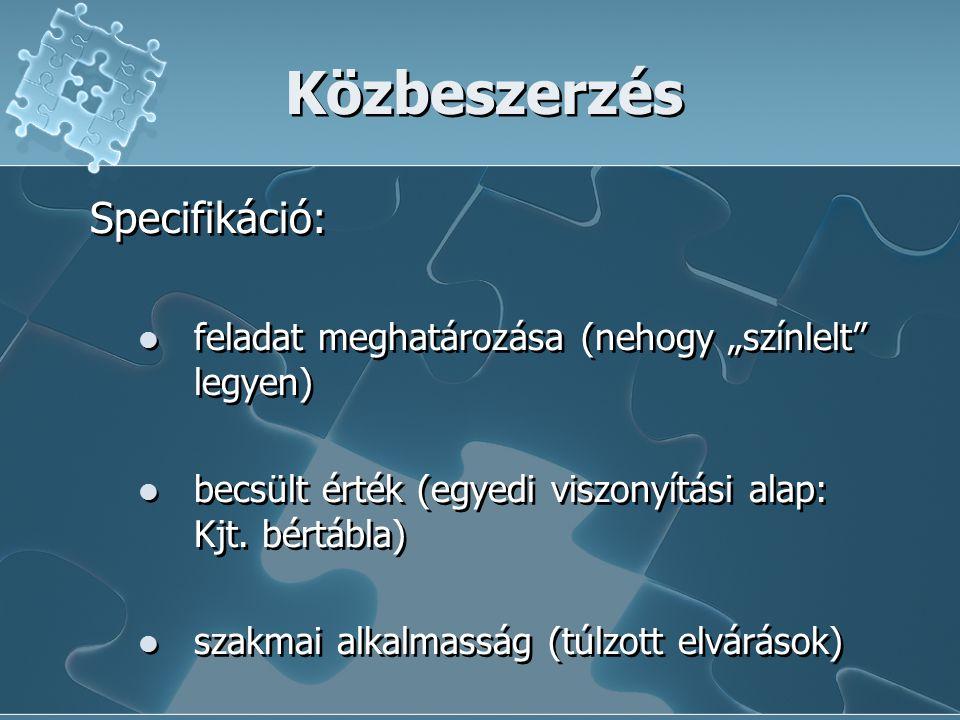 Közbeszerzés Specifikáció: