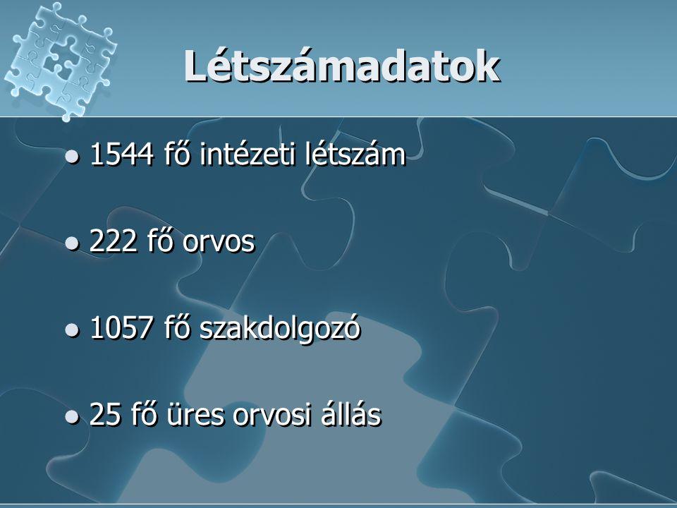 Létszámadatok 1544 fő intézeti létszám 222 fő orvos