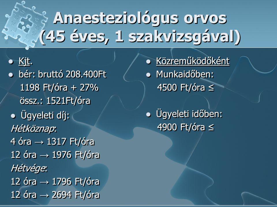 Anaesteziológus orvos (45 éves, 1 szakvizsgával)