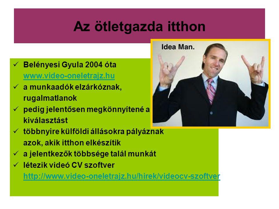 Az ötletgazda itthon Belényesi Gyula 2004 óta www.video-oneletrajz.hu