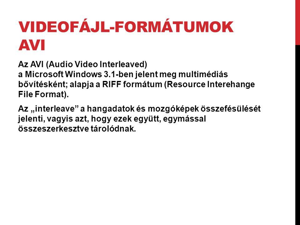 Videofájl-formátumok AVI