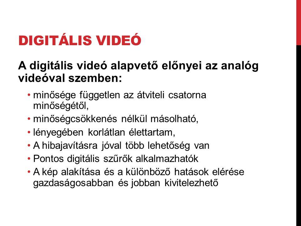 Digitális videó A digitális videó alapvető előnyei az analóg videóval szemben: minősége független az átviteli csatorna minőségétől,