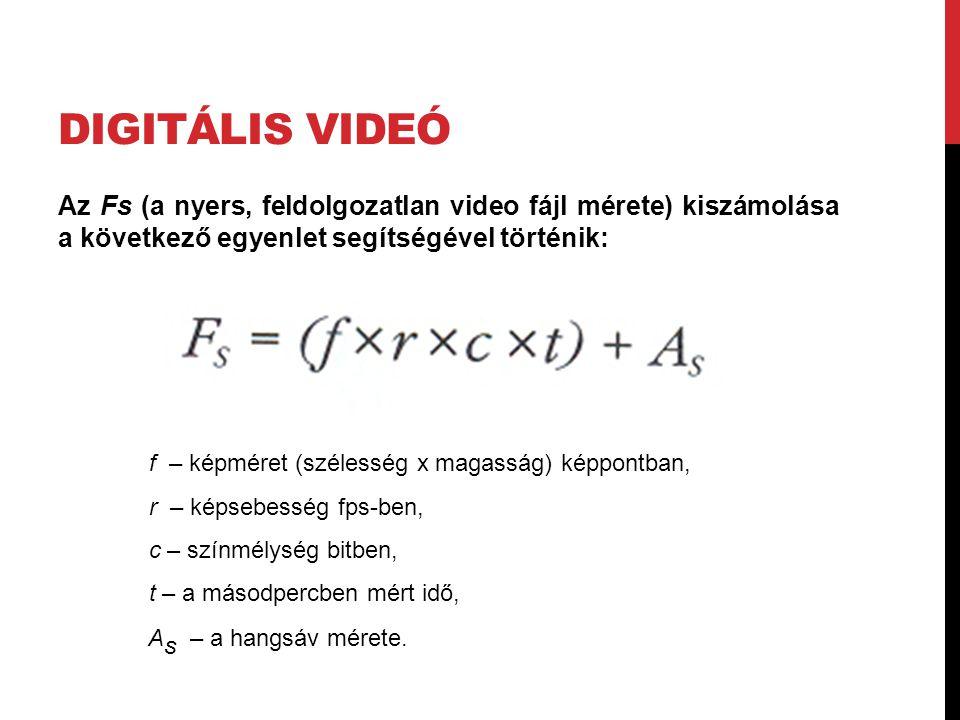 Digitális videó Az Fs (a nyers, feldolgozatlan video fájl mérete) kiszámolása a következő egyenlet segítségével történik: