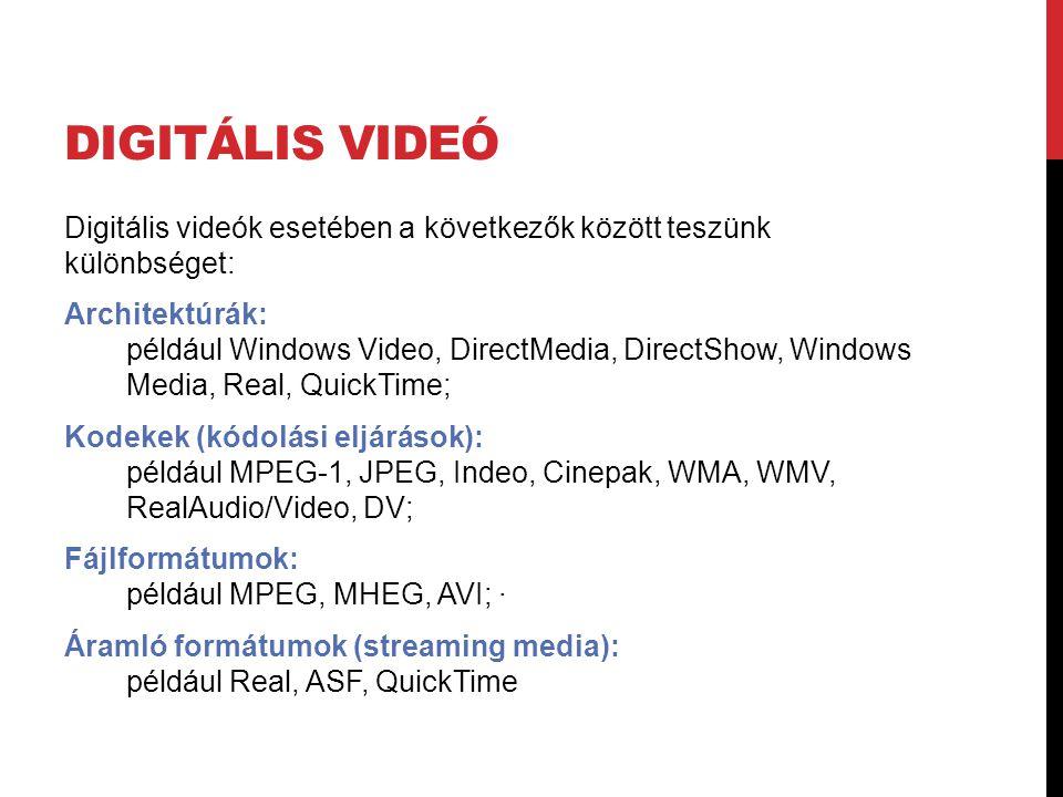 Digitális videó Digitális videók esetében a következők között teszünk különbséget: