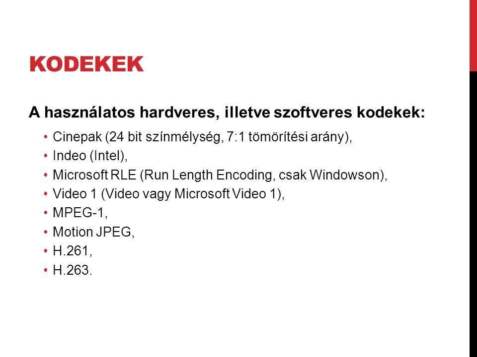 Kodekek A használatos hardveres, illetve szoftveres kodekek: