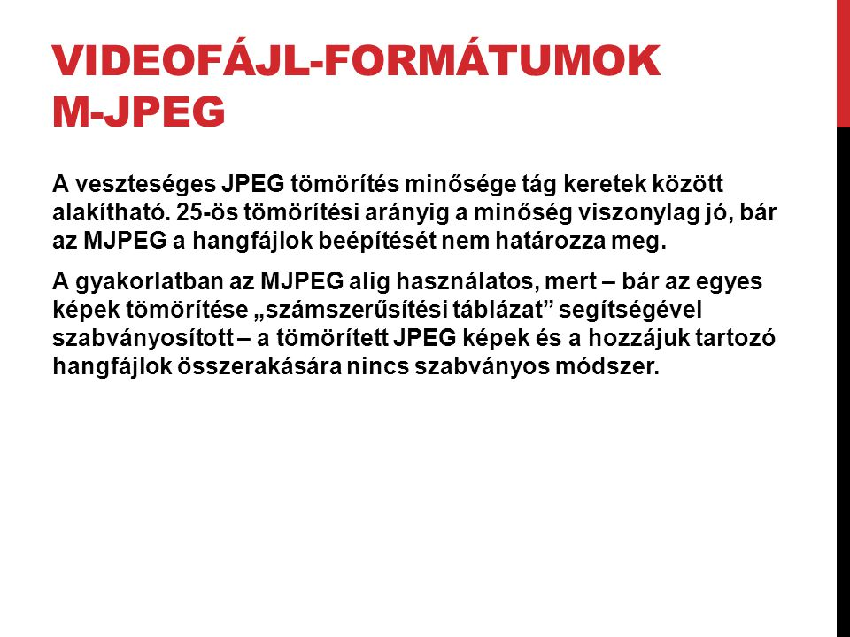Videofájl-formátumok M-JPEG