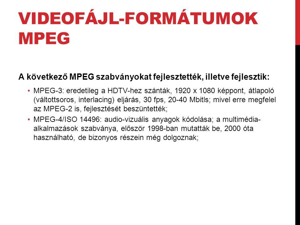 Videofájl-formátumok MPEG