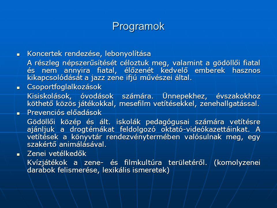 Programok Koncertek rendezése, lebonyolítása