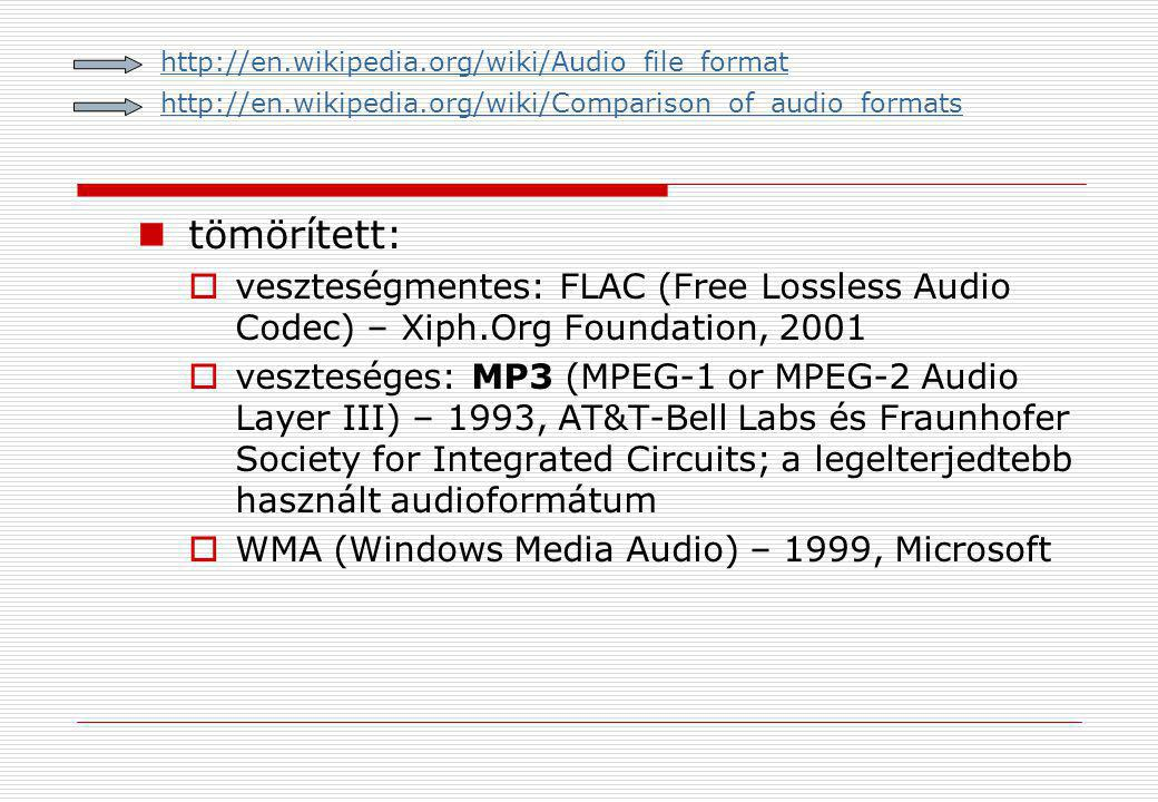 http://en.wikipedia.org/wiki/Audio_file_format http://en.wikipedia.org/wiki/Comparison_of_audio_formats.