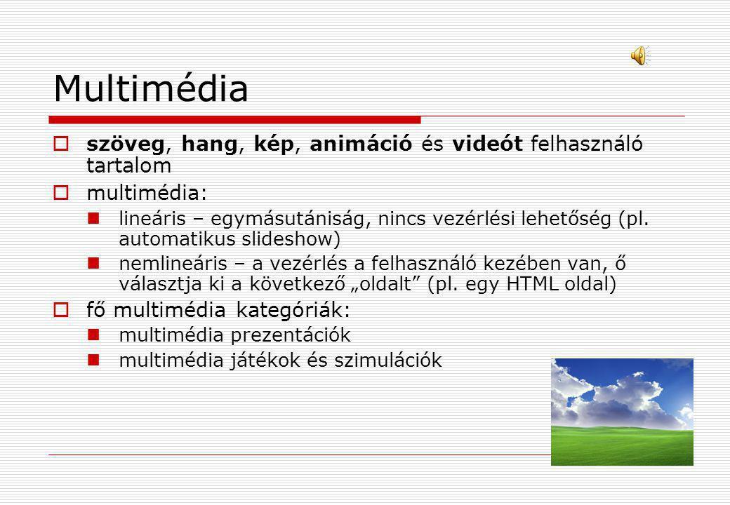 Multimédia szöveg, hang, kép, animáció és videót felhasználó tartalom