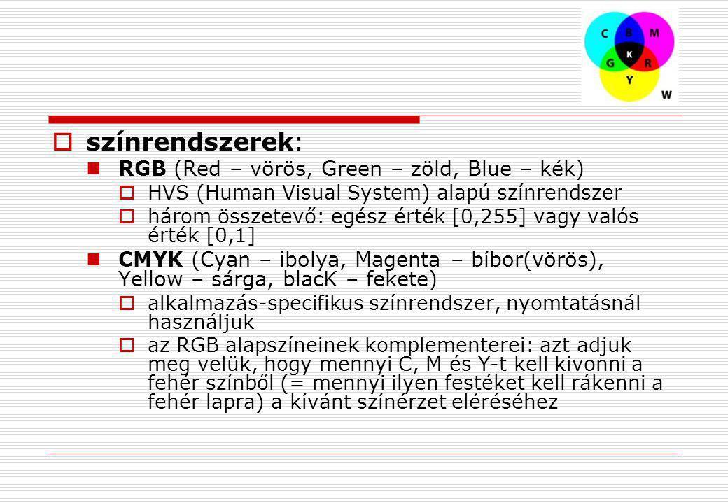színrendszerek: RGB (Red – vörös, Green – zöld, Blue – kék)