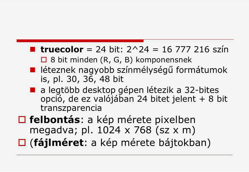 felbontás: a kép mérete pixelben megadva; pl. 1024 x 768 (sz x m)