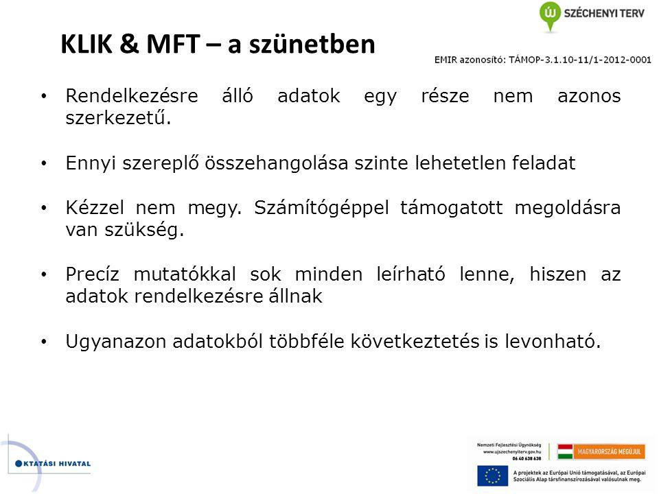 KLIK & MFT – a szünetben Rendelkezésre álló adatok egy része nem azonos szerkezetű. Ennyi szereplő összehangolása szinte lehetetlen feladat.