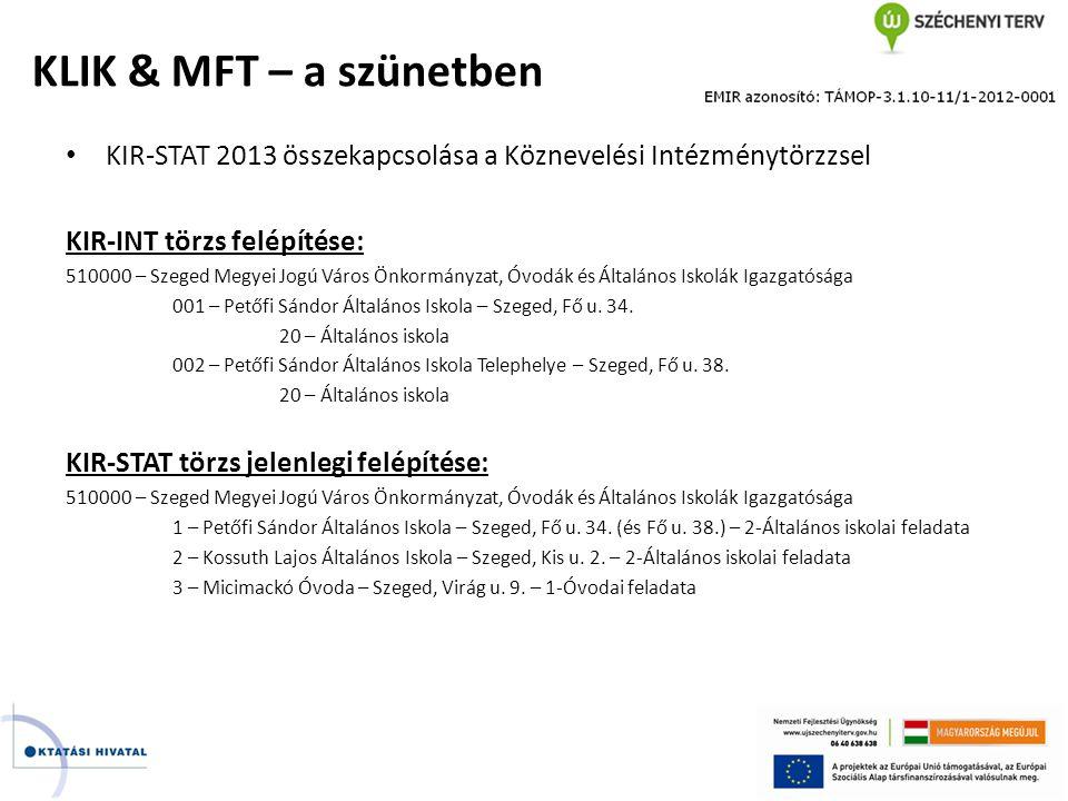 KLIK & MFT – a szünetben KIR-STAT 2013 összekapcsolása a Köznevelési Intézménytörzzsel. KIR-INT törzs felépítése: