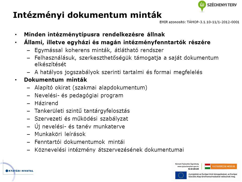 Intézményi dokumentum minták