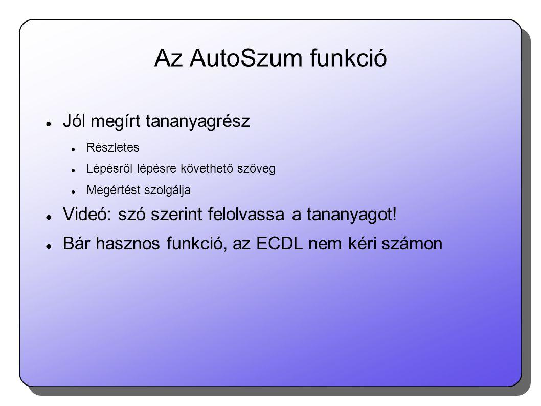 Az AutoSzum funkció Jól megírt tananyagrész