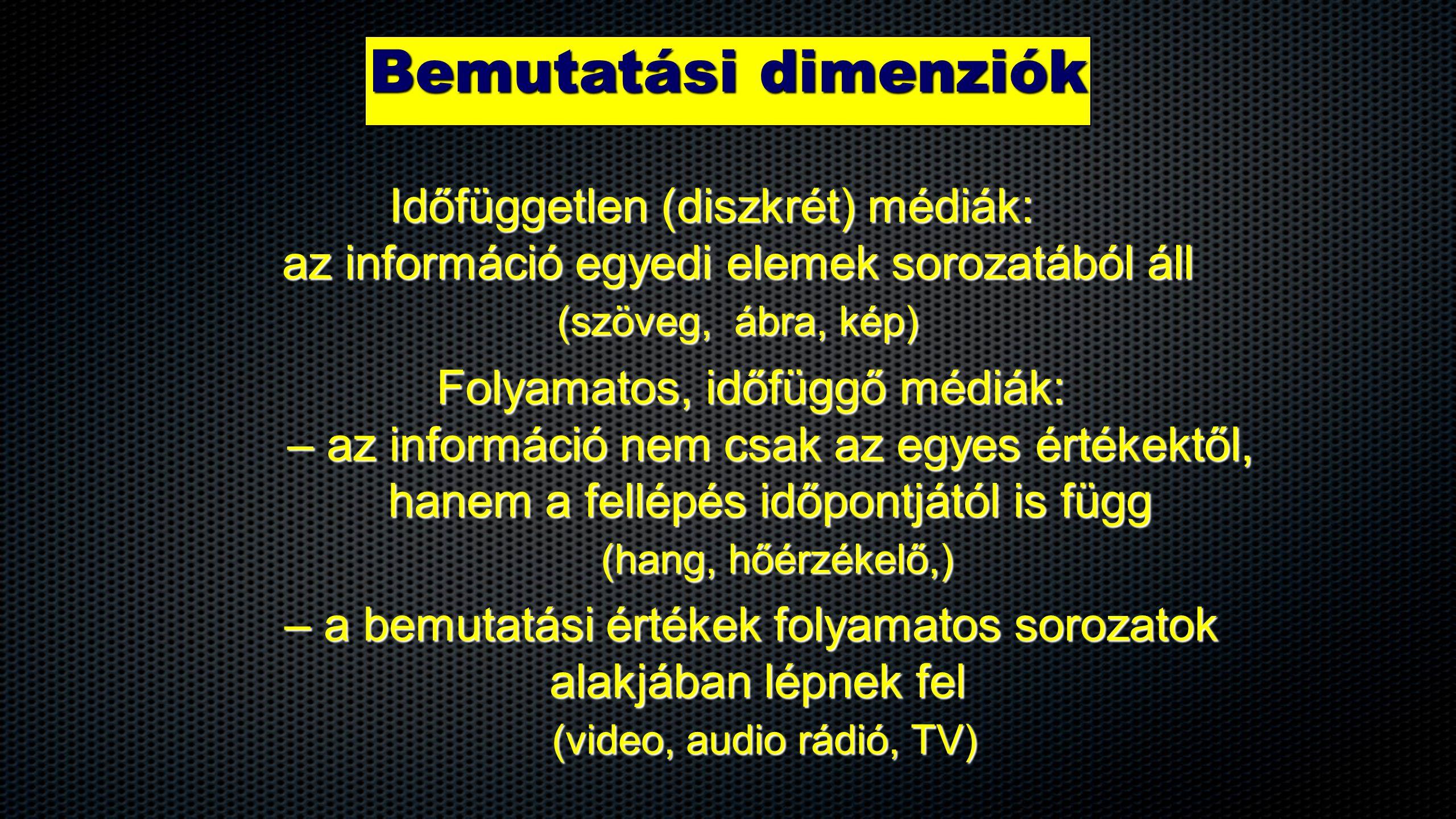 Bemutatási dimenziók Időfüggetlen (diszkrét) médiák: