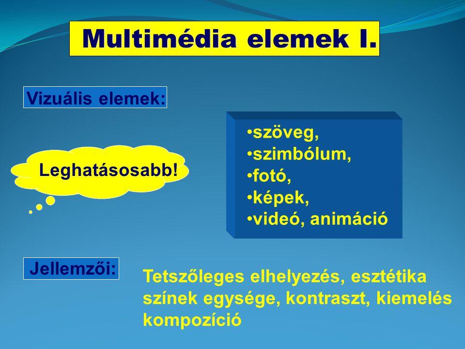 Multimédia elemek I. Vizuális elemek: szöveg, szimbólum, fotó, képek,