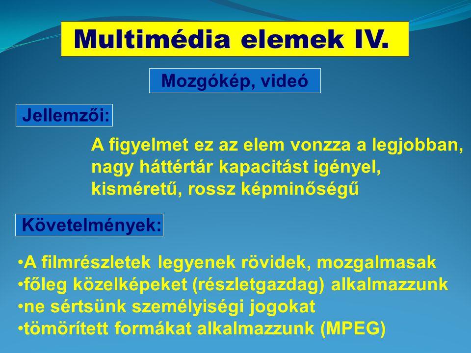Multimédia elemek IV. Mozgókép, videó Jellemzői: