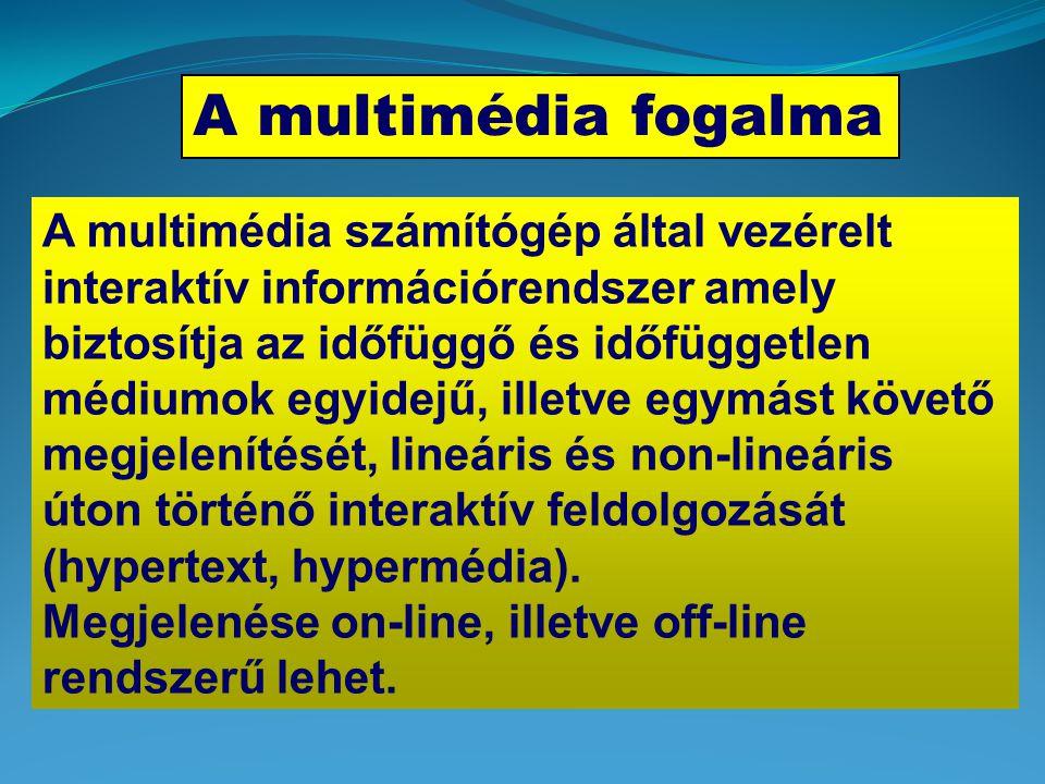 A multimédia fogalma A multimédia számítógép által vezérelt