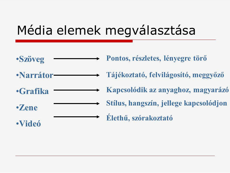 Média elemek megválasztása