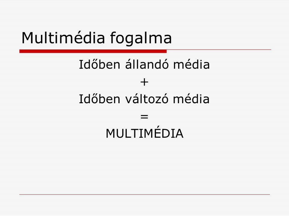 Multimédia fogalma Időben állandó média + Időben változó média =