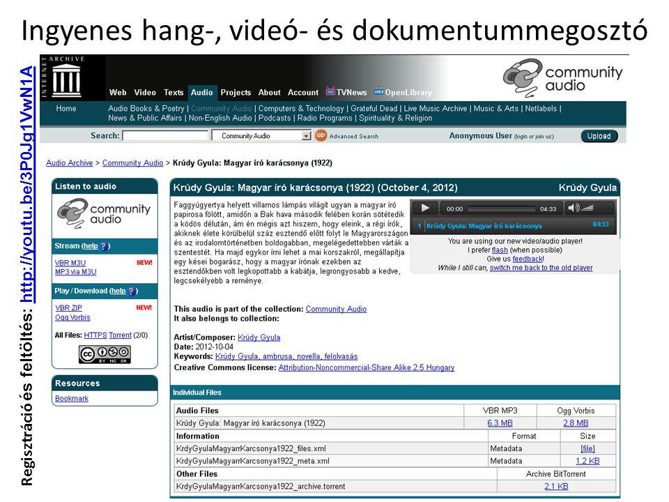Ingyenes hang-, videó- és dokumentummegosztó