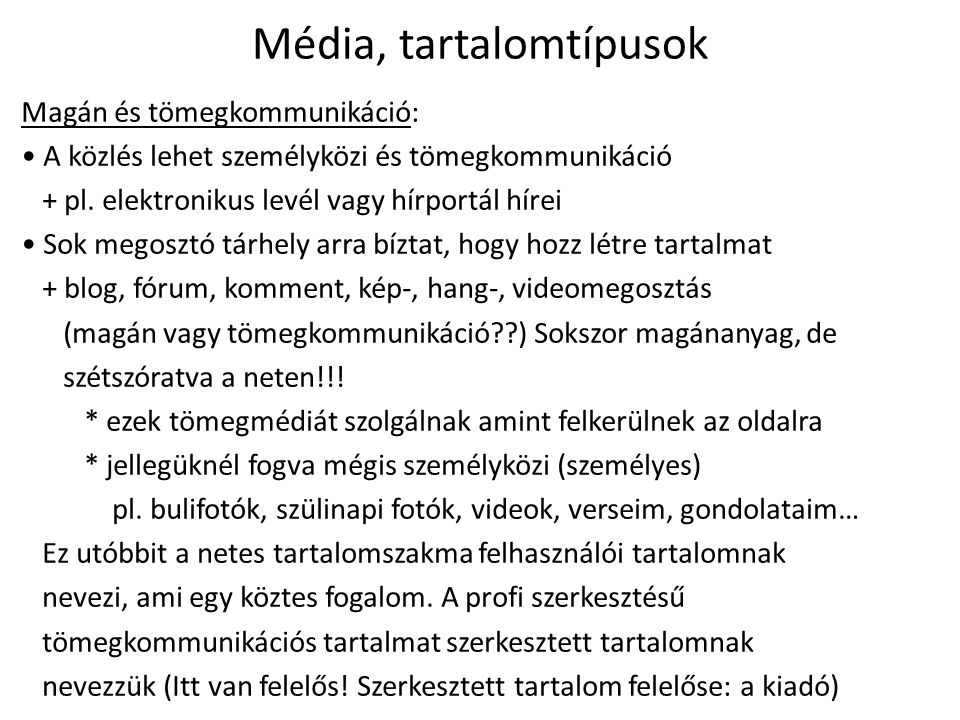 Média, tartalomtípusok
