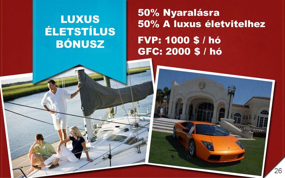 LUXUS ÉLETSTÍLUS BÓNUSZ 50% Nyaralásra 50% A luxus életvitelhez