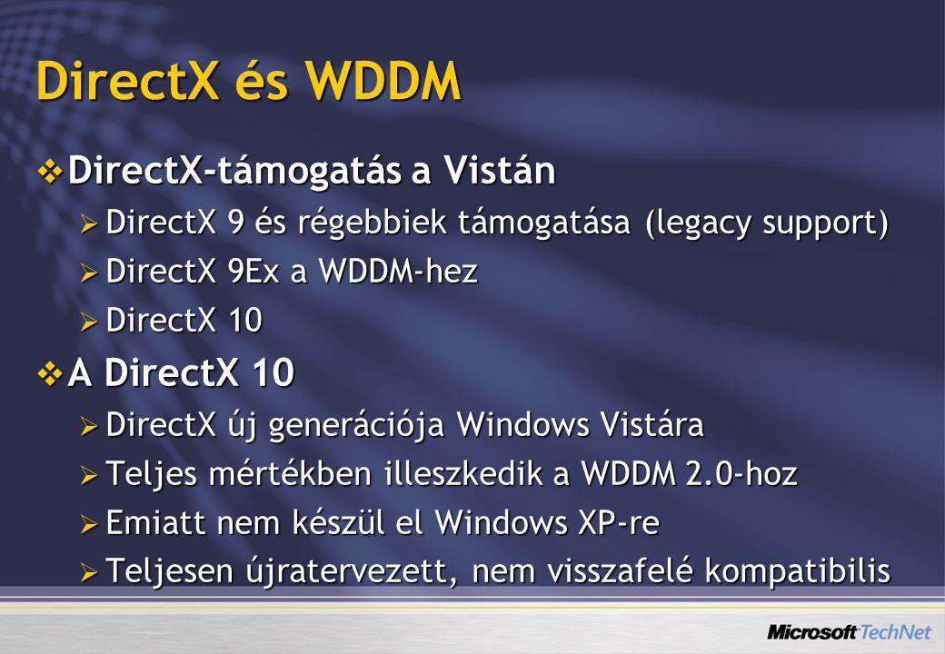 DirectX és WDDM DirectX-támogatás a Vistán A DirectX 10