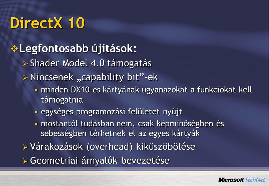 DirectX 10 Legfontosabb újítások: Shader Model 4.0 támogatás