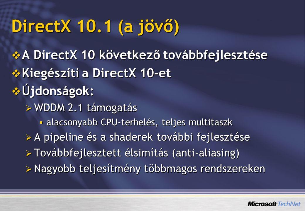 DirectX 10.1 (a jövő) A DirectX 10 következő továbbfejlesztése