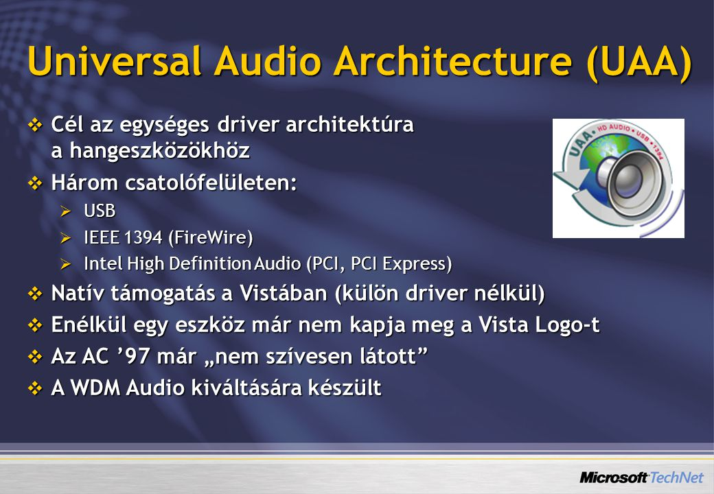 Universal Audio Architecture (UAA)