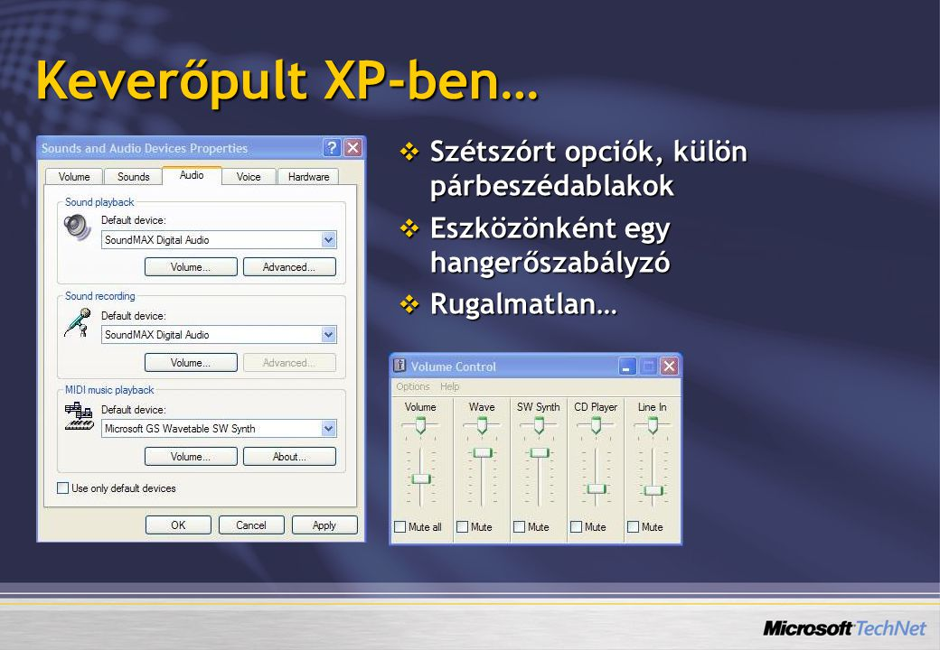 Keverőpult XP-ben… Szétszórt opciók, külön párbeszédablakok