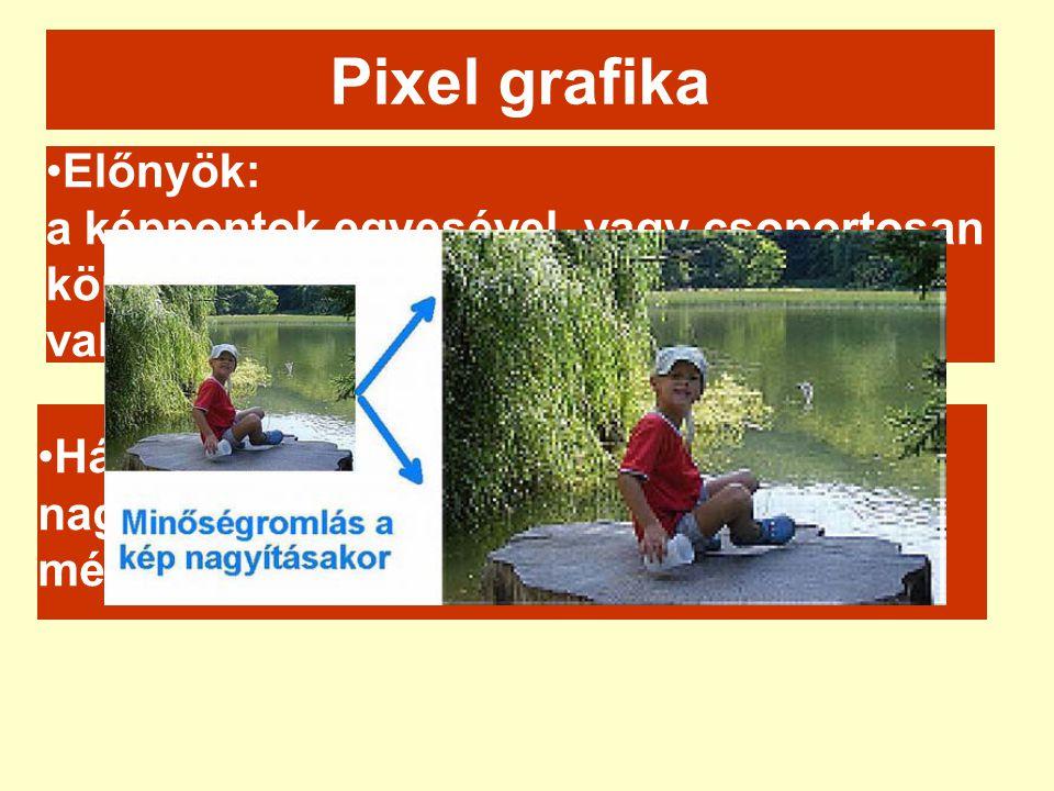 Pixel grafika Előnyök: a képpontok egyesével, vagy csoportosan könnyen módosíthatók valósághű ábrázolás.