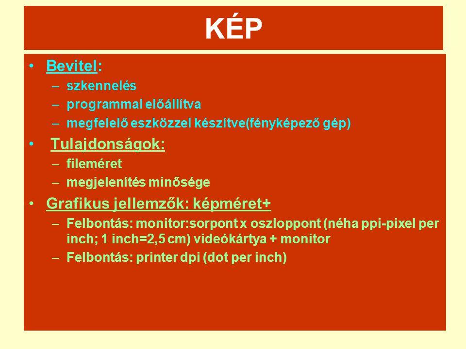 KÉP Bevitel: Tulajdonságok: Grafikus jellemzők: képméret+ szkennelés