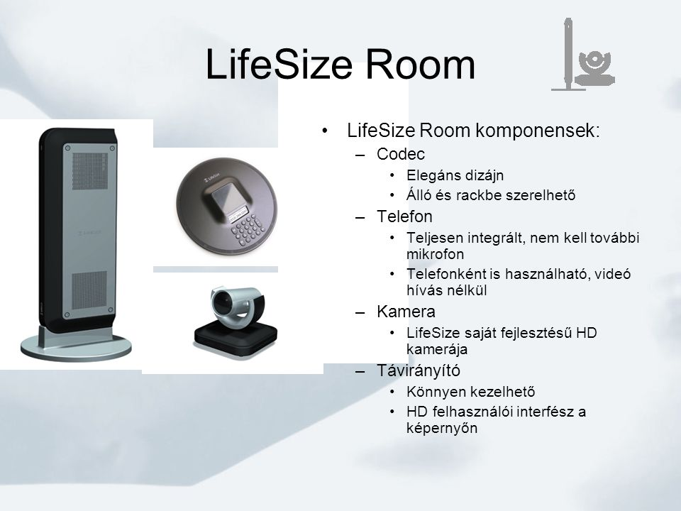 LifeSize Room LifeSize Room komponensek: Codec Telefon Kamera