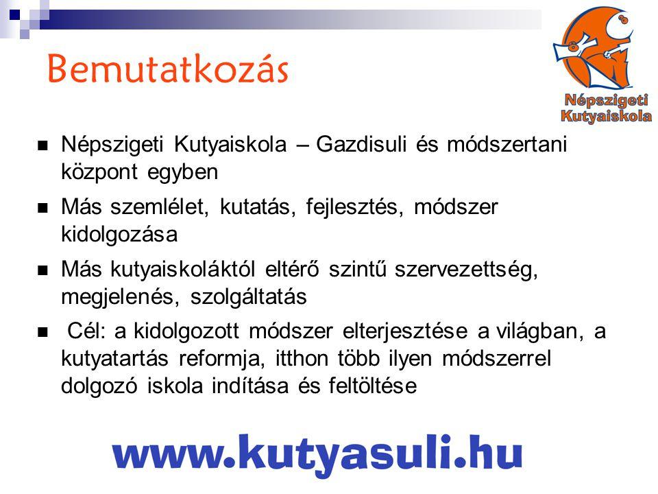 Bemutatkozás Népszigeti Kutyaiskola – Gazdisuli és módszertani központ egyben. Más szemlélet, kutatás, fejlesztés, módszer kidolgozása.
