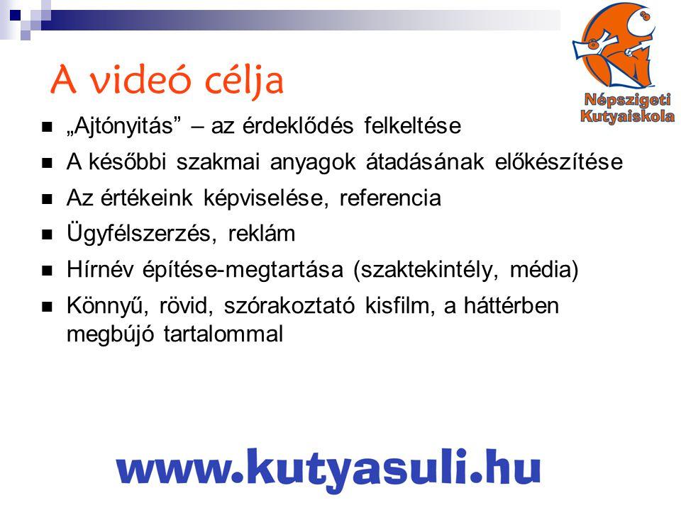 """A videó célja """"Ajtónyitás – az érdeklődés felkeltése"""