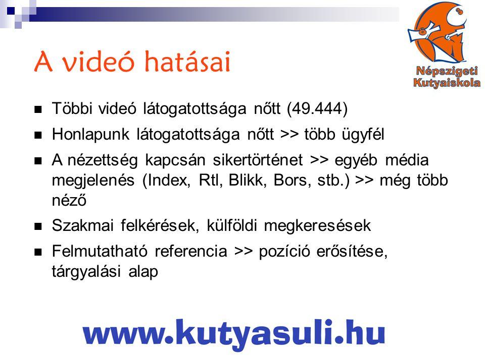 A videó hatásai Többi videó látogatottsága nőtt (49.444)