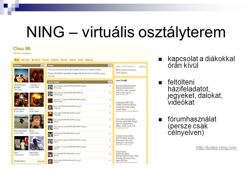 NING – virtuális osztályterem